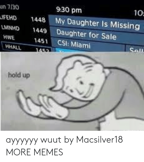 Dank, Memes, and Target: un 7130  9:30 pm  10:  IFEHD 1448 My Daughter Is Missing  LMNHD 1449 Daughter for Sale  HWE  1451 CSI: Miami  hold up ayyyyyy wuut by Macsilver18 MORE MEMES