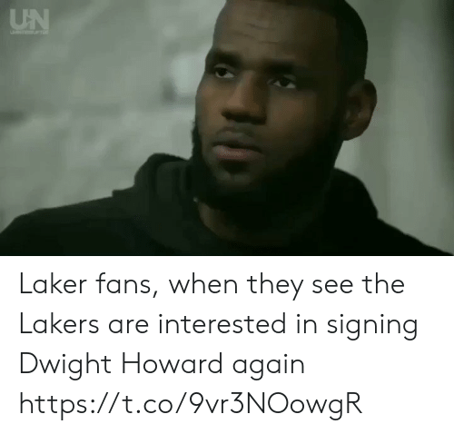 Dwight Howard, Los Angeles Lakers, and Sports: UN Laker fans, when they see the Lakers are interested in signing Dwight Howard again https://t.co/9vr3NOowgR