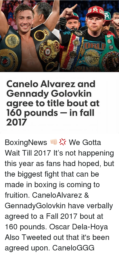 Boxing, Fall, and Memes: UNAM  Canelo Alvarez and  Gennady Golovkin  agree to title bout at  160 pounds  in fall  2017 BoxingNews 👊🏻💢 We Gotta Wait Till 2017 It's not happening this year as fans had hoped, but the biggest fight that can be made in boxing is coming to fruition. CaneloAlvarez & GennadyGolovkin have verbally agreed to a Fall 2017 bout at 160 pounds. Oscar Dela-Hoya Also Tweeted out that it's been agreed upon. CaneloGGG