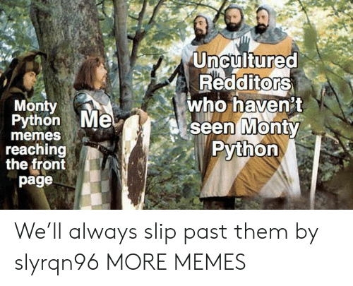 monty python: Uncultured  RedditorS  who haven't  seen MontY  Python  0  Monty  Python Me  0  memes  reaching  the front  page We'll always slip past them by slyrqn96 MORE MEMES