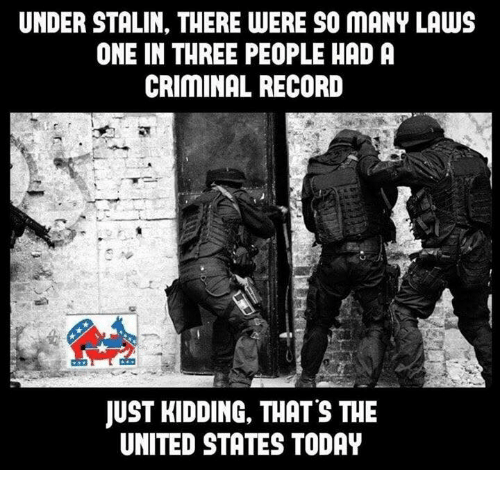 Memes, 🤖, and Stalin: UNDER STALIN, THERE WERE SO MANY LAWS  ONE IN THREE PEOPLE HADA  CRIMINAL RECORD  JUST KIDDING, THATS THE  UNITED STATES TODAY