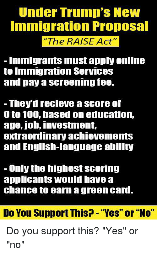 """green card: Under Trump's New  mmigration Propoal  The RAISE Act""""  Immigrants must apply online  to Immigration ServIces  and pay a screening fee.  - Theyd recieve a score of  0 to 100, based on education,  age, job, investment,  extraordinary achievementS  and English-language ability  - Only the highest scoring  applicants would have a  chance to earn a green card.  Do You Support This? - """"Yes"""" or """"No"""" Do you support this?  """"Yes"""" or """"no"""""""