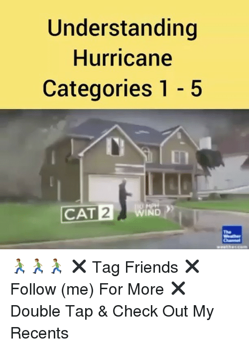 winding: Understanding  Hurricane  Categories 1 - 5  In  CAT WIND  2  The 🏃🏽🏃🏽🏃🏽 ✖️ Tag Friends ✖️ Follow (me) For More ✖️ Double Tap & Check Out My Recents