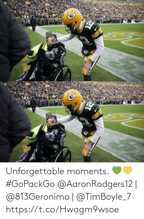 Memes, 🤖, and Unforgettable: Unforgettable moments. 💚💛 #GoPackGo  @AaronRodgers12 | @813Geronimo | @TimBoyle_7 https://t.co/Hwagm9wsoe