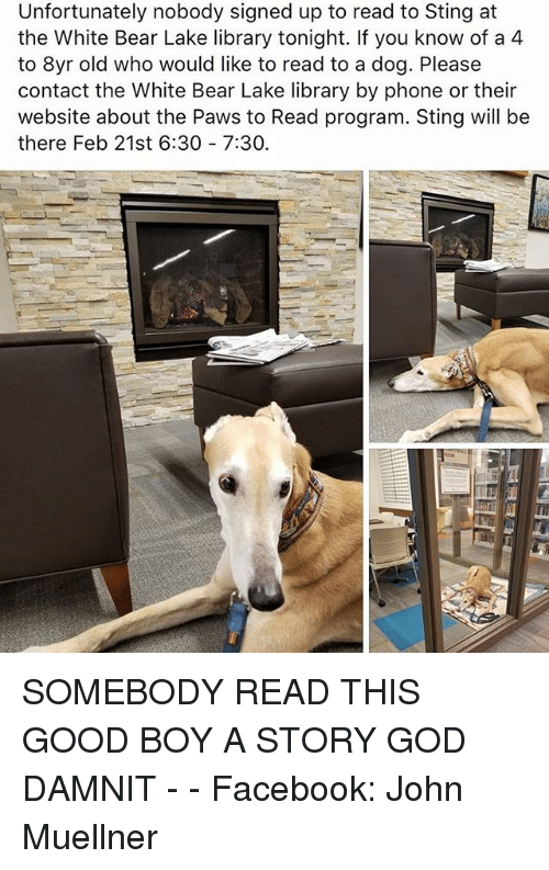 Facebook, Funny, and God: Unfortunately nobody signed up to read to Sting at  the White Bear Lake library tonight. If you know of a 4  to 8yr old who would like to read to a dog. Please  contact the White Bear Lake library by phone or their  website about the Paws to Read program. Sting will be  there Feb 21st 6:30 7:30. SOMEBODY READ THIS GOOD BOY A STORY GOD DAMNIT - - Facebook: John Muellner