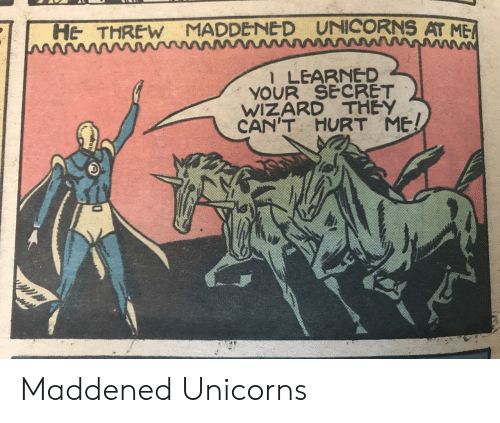 Wizard, Secret, and They: UNICORNS AT ME  HE THREW MADDENE D  l LEARNED  YOUR SECRET  WIZARD THEY  CAN'T  HURT ME! Maddened Unicorns