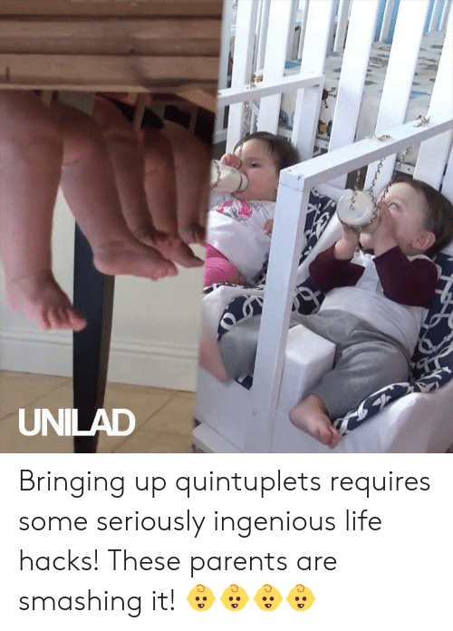 Dank, Life, and Parents: UNILAD Bringing up quintuplets requires some seriously ingenious life hacks! These parents are smashing it! 👶👶👶👶