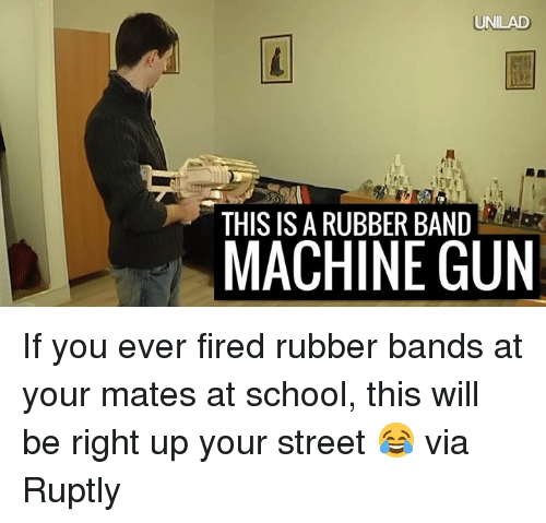 Dank, 🤖, and Gun: UNILAD  THIS IS A RUBBER BAND  MACHINE GUN If you ever fired rubber bands at your mates at school, this will be right up your street 😂  via Ruptly