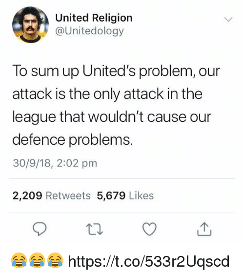 Soccer, The League, and United: United Religion  e @Unitedology  To sum up United's problem, our  attack is the only attack in the  league that wouldn't cause our  defence problems.  30/9/18, 2:02 pm  2,209 Retweets 5,679 Likes 😂😂😂 https://t.co/533r2Uqscd