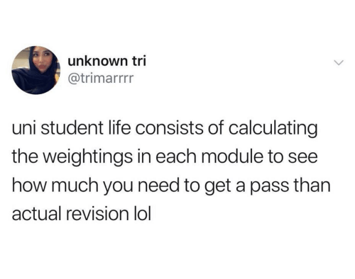 Life, Lol, and Module: unknown tri  @trimarrrr  uni student life consists of calculating  the weightings in each module to  how much you need to get a pass than  actual revision lol