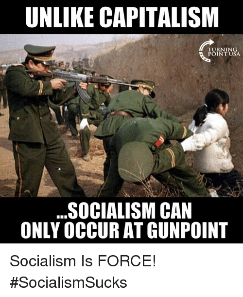 Memes, Capitalism, and Socialism: UNLIKE CAPITALISM  POINT USA  SOCIALISM CAN  ONLY OCCUR AT GUNPOINT Socialism Is FORCE! #SocialismSucks