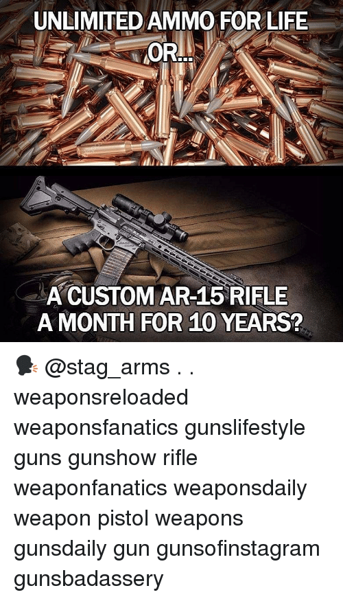 Guns, Life, and Memes: UNLIMITED AMMO FOR LIFE  OR..  A CUSTOM AR-15 RIFLE  A MONTH FOR 10 YEARS? 🗣 @stag_arms . . weaponsreloaded weaponsfanatics gunslifestyle guns gunshow rifle weaponfanatics weaponsdaily weapon pistol weapons gunsdaily gun gunsofinstagram gunsbadassery