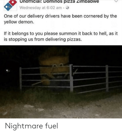 Pizza, Domino's Pizza, and Domino's: unofficial: Dominos piZza Zimbabwe  Wednesday at 6:02 am  One of our delivery drivers have been cornered by the  yellow demon.  If it belongs to you please summon it back to hell, as it  is stopping us from delivering pizzas. Nightmare fuel