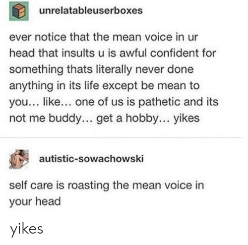 Insults: unrelatableuserboxes  ever notice that the mean voice in ur  head that insults u is awful confident for  something thats literally never done  anything in its life except be mean to  you... like... one of us is pathetic and its  not me buddy... get a hobby... yikes  autistic-sowachowski  self care is roasting the mean voice in  your head yikes