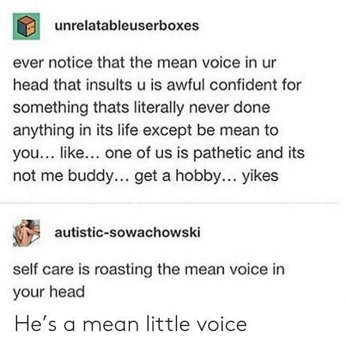 Self Care Is: unrelatableuserboxes  ever notice that the mean voice in ur  head that insults u is awful confident for  something thats literally never done  anything in its life except be mean to  you... like... one of us is pathetic and its  not me buddy.. get a hobby... yikes  autistic-sowachowski  self care is roasting the mean voice in  your head He's a mean little voice