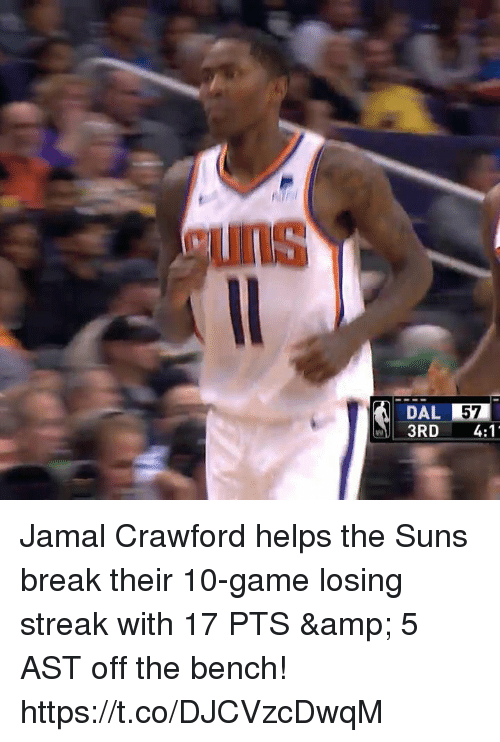 Memes, Break, and Game: UNS  DAL 57  3RD 4:1 Jamal Crawford helps the Suns break their 10-game losing streak with 17 PTS & 5 AST off the bench!   https://t.co/DJCVzcDwqM