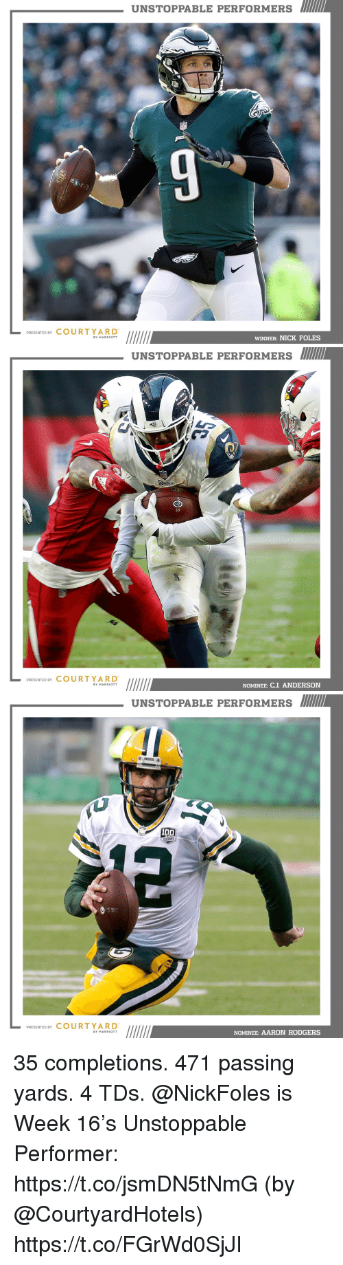 Aaron Rodgers, Memes, and Marriott: UNSTOPPABLE PERFORMERS  NF  PRESENTED BY COURT YARD  WINNER: NICK FOLES  BY MARRIOTT   UNSTOPPABLE PERFORMERS MI  2  PRESENTED BY COURTYARD  NOMINEE: C.J ANDERSON  BY MARRIOTT   UNSTOPPABLE PERFORMERS  PRESENTED BY COURTYARD  NOMINEE: AARON RODGERS  BY MARRIOTT 35 completions. 471 passing yards. 4 TDs.  @NickFoles is Week 16's Unstoppable Performer: https://t.co/jsmDN5tNmG (by @CourtyardHotels) https://t.co/FGrWd0SjJI