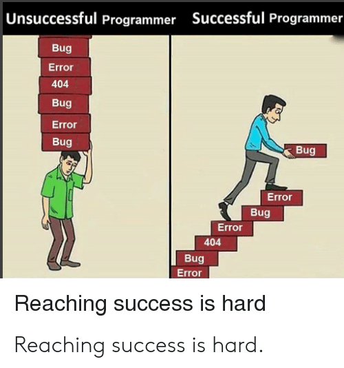 Success, Bug, and Error: |Unsuccessful Programmer Successful Programmer  Bug  Error  404  Bug  Error  Bug  Bug  Error  Bug  Error  404  Bug  Error  Reaching success is hard Reaching success is hard.