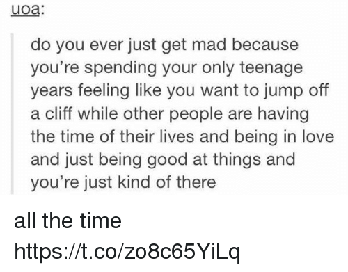 Love, Good, and Time: uoa:  do you ever just get mad because  you're spending your only teenage  years feeling like you want to jump off  a cliff while other people are having  the time of their lives and being in love  and just being good at things and  you're just kind of there all the time https://t.co/zo8c65YiLq