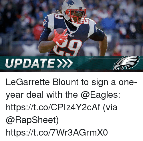 Philadelphia Eagles, Memes, and 🤖: UPDATE LeGarrette Blount to sign a one-year deal with the @Eagles: https://t.co/CPIz4Y2cAf (via @RapSheet) https://t.co/7Wr3AGrmX0