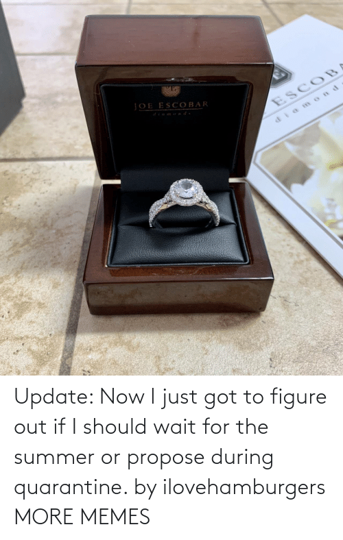 figure out: Update: Now I just got to figure out if I should wait for the summer or propose during quarantine. by ilovehamburgers MORE MEMES
