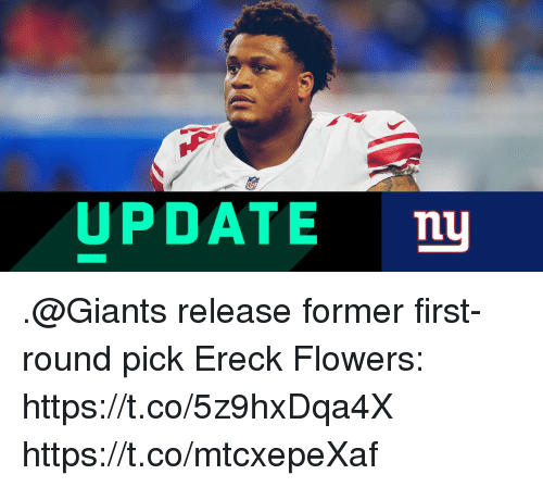 Memes, Flowers, and Giants: UPDATE nu .@Giants release former first-round pick Ereck Flowers: https://t.co/5z9hxDqa4X https://t.co/mtcxepeXaf