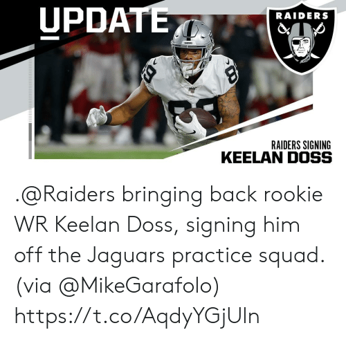 Memes, Squad, and Raiders: UPDATE  RAIDERS  RADS  RAIDERS SIGNING .@Raiders bringing back rookie WR Keelan Doss, signing him off the Jaguars practice squad. (via @MikeGarafolo) https://t.co/AqdyYGjUln