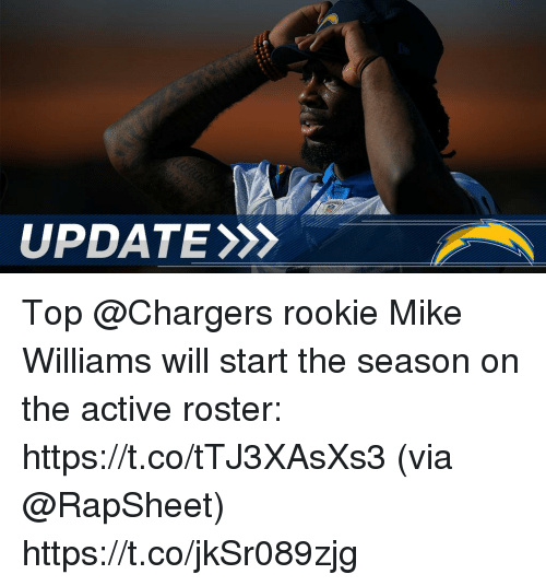 Memes, Chargers, and 🤖: UPDATE Top @Chargers rookie Mike Williams will start the season on the active roster: https://t.co/tTJ3XAsXs3 (via @RapSheet) https://t.co/jkSr089zjg