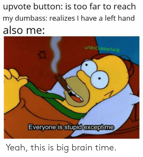 Yeah, Brain, and Time: upvote button: is too far to reach  my dumbass: realizes I have a left hand  also me:  u/MoClubberlang  Everyone is stupid except me Yeah, this is big brain time.