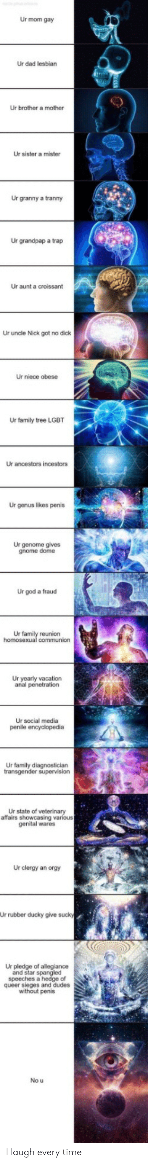 ur mom: Ur mom gay  Ur dad lesbian  Ur brother a mother  Ur sister a mister  Ur granny a tranny  Ur grandpap a trap  Ur aunt a croissant  Ur uncle Nick got no dick  Ur niece obese  Ur family tree LGBT  Ur ancestors incestors  Ur genus likes penis  Ur genome gives  gnome dome  Ur god a fraud  Ur family reunion  homosexual communion  Ur yearly vacation  anal penetration  Ur social media  penile encyclopedia  Ur family diagnostician  transgender supervision  Ur state of veterinary  affairs showcasing various  genital wares  Ur clergy an orgy  Ur rubber ducky give sucky  Ur pledge of allegiance  and star spangled  speeches a hedge of  queer sieges and dudes  without penis  No u I laugh every time