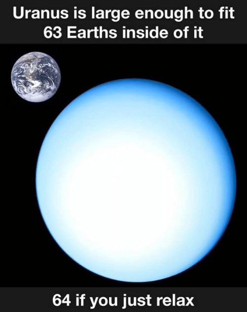 just relax: Uranus is large enough to fit  63 Earths inside of it  64 if you just relax