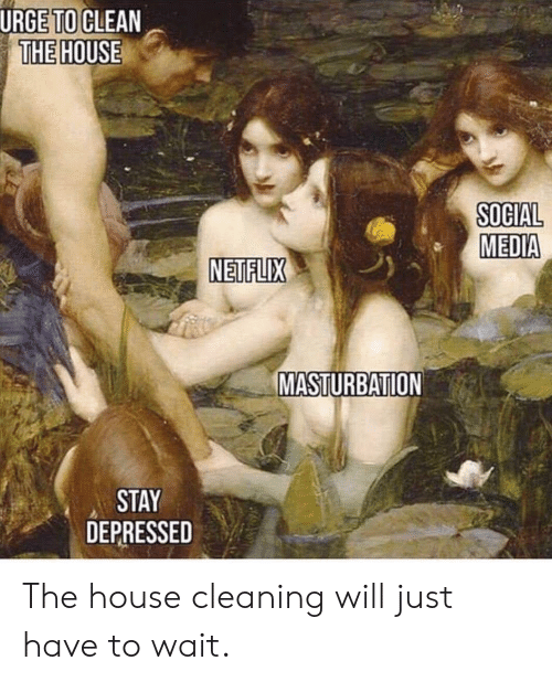 Netflix, Social Media, and House: URGE TO CLEAN  THE HOUSE  SOCIAL  MEDIA  NETFLIX  MASTURBATION  STAY  DEPRESSED The house cleaning will just have to wait.