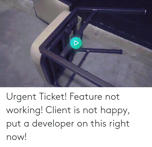 Ticket: Urgent Ticket! Feature not working! Client is not happy, put a developer on this right now!