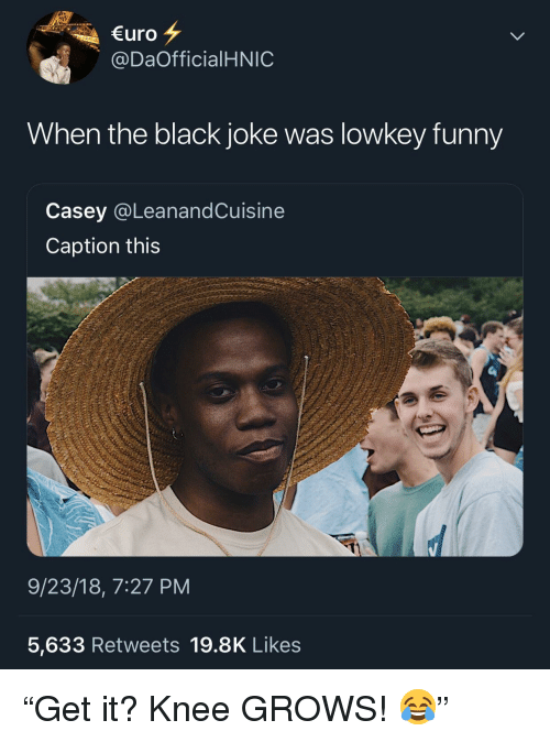 """Funny, Black, and Lowkey: uro  @DaOfficialHNIC  When the black joke was lowkey funny  Casey @LeanandCuisine  Caption this  9/23/18, 7:27 PM  5,633 Retweets 19.8K Likes """"Get it? Knee GROWS! 😂"""""""