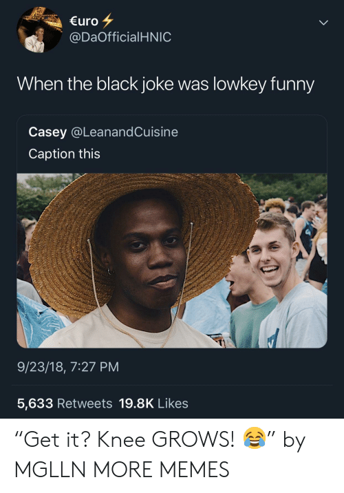 """Dank, Funny, and Memes: uro  @DaOfficialHNIC  When the black joke was lowkey funny  Casey @LeanandCuisine  Caption this  9/23/18, 7:27 PM  5,633 Retweets 19.8K Likes """"Get it? Knee GROWS! 😂"""" by MGLLN MORE MEMES"""