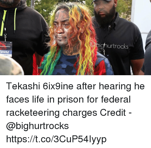 Life, Prison, and Hearing: urtrocks Tekashi 6ix9ine after hearing he faces life in prison for federal racketeering charges  Credit - @bighurtrocks https://t.co/3CuP54Iyyp