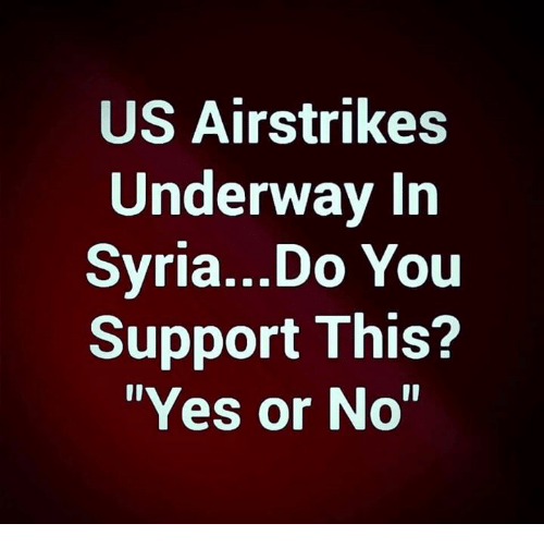 "Memes, Syria, and 🤖: US Airstrikes  Underway In  Syria...Do You  Support This?  ""Yes or No"