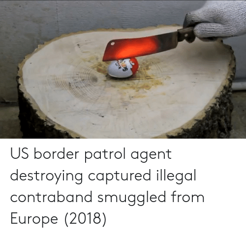 Europe, Border Patrol, and Agent: US border patrol agent destroying captured illegal contraband smuggled from Europe (2018)