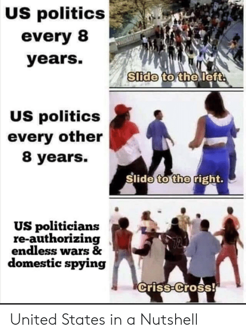 Domestic: US politics  every 8  years.  Slide to the left  US politics  every other  8 years.  Slide to the right.  US politicians  re-authorizing  endless wars &  domestic spying  criss-Cross! United States in a Nutshell