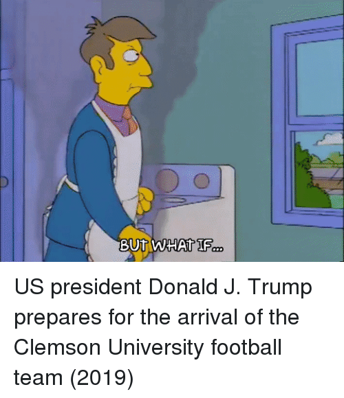Football, Trump, and Clemson: US president Donald J. Trump prepares for the arrival of the Clemson University football team (2019)