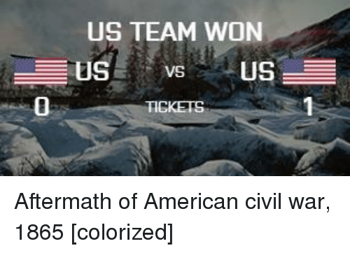 American, Civil War, and War: US TEAM WON  0 Aftermath of American civil war, 1865 [colorized]