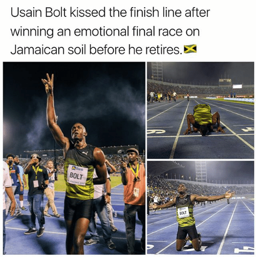 Finish Line, Memes, and Usain Bolt: Usain Bolt kissed the finish line after  winning an emotional final race on  Jamaican soil before he retires.  BOLT  BOUT