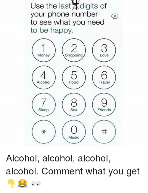 Food, Friends, and Love: Use the last digits of  your phone number  to see what you need  to be happy.  Money  Shopping  Love  Alcohol  Food  Travel  Sleep  Sex  Friends  Music Alcohol, alcohol, alcohol, alcohol. Comment what you get 👇😂 👀