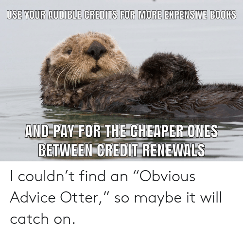 "Advice, Books, and Advice Animals: USE YOUR AUDIBLE CREDITS FOR MORE EXPENSIVE BOOKS  AND-PAY FOR THE CHEAPER ONES  BETWEEN CREDIT RENEWALS I couldn't find an ""Obvious Advice Otter,"" so maybe it will catch on."