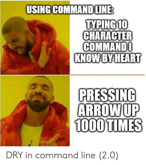 Arrow, Heart, and Character: USING COMMAND LINE  TYPING10  CHARACTER  COMMAND  KNOW BY HEART  PRESSING  ARROW UP  1000 TIMES DRY in command line (2.0)