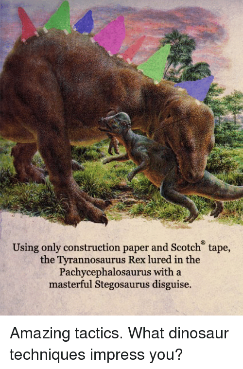 dinosaure: Using only construction paper and Scotch tape,  the Tyrannosaurus Rex lured in the  Pachycephalosaurus with a  masterful Stegosaurus disguise. Amazing tactics.  What dinosaur techniques impress you?