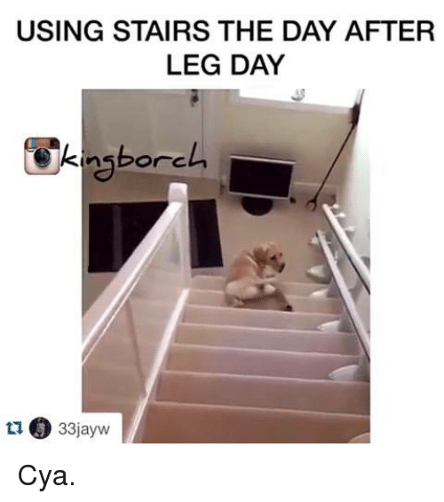 Day After Leg Day: USING STAIRS THE DAY AFTER  LEG DAY  33jayw  ti Cya.