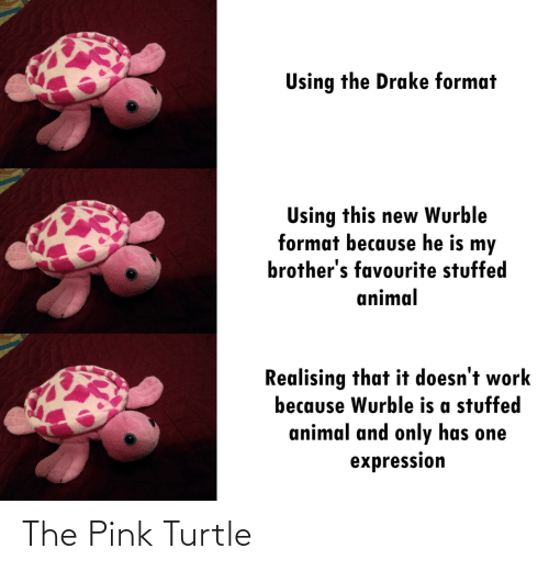 Pink: Using the Drake format  Using this new Wurble  format because he is my  brother's favourite stuffed  animal  Realising that it doesn't work  because Wurble is a stuffed  animal and only has one  expression The Pink Turtle