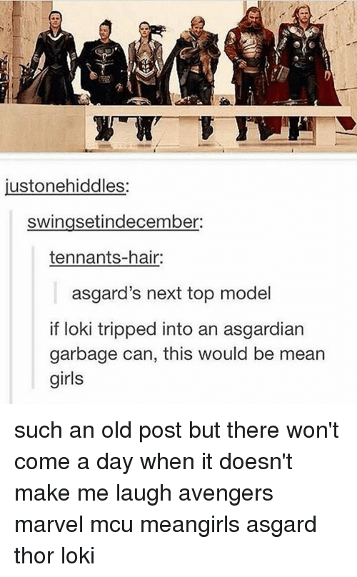 Asgardian: usto nehiddles.  swingsetindecember:  tennants-hair:  asgard's next top model  if loki tripped into an asgardian  garbage can, this would be mean  girls such an old post but there won't come a day when it doesn't make me laugh avengers marvel mcu meangirls asgard thor loki