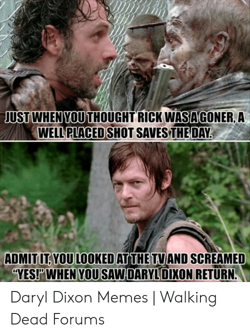Memes, Saw, and Walking Dead: USTWHEN YOU  USTWHEN YOU THOUGHT RICK WASAGONER, A  WELL PLACED  SHOT SAVES THEDAY.  ADMIT IT YOU LOOKED AT THE TVIAND SCREAMED  YEST WHEN YOU SAW DARYLDIXON RETURN Daryl Dixon Memes | Walking Dead Forums